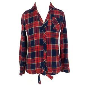 Paper Tee Plaid Button Tie Front Shirt Size Large